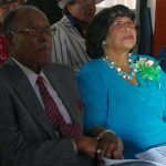 Henry and Shirley Frye watch a video made in her honor.