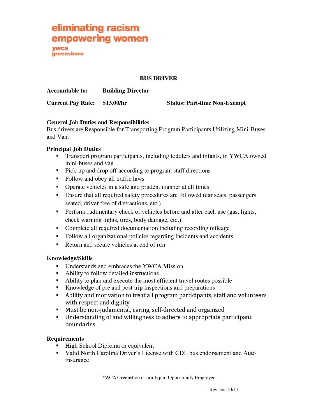 Bus Driver Duties | Bus Driver Job Description Ywca Of Greensboro Eliminating Racism