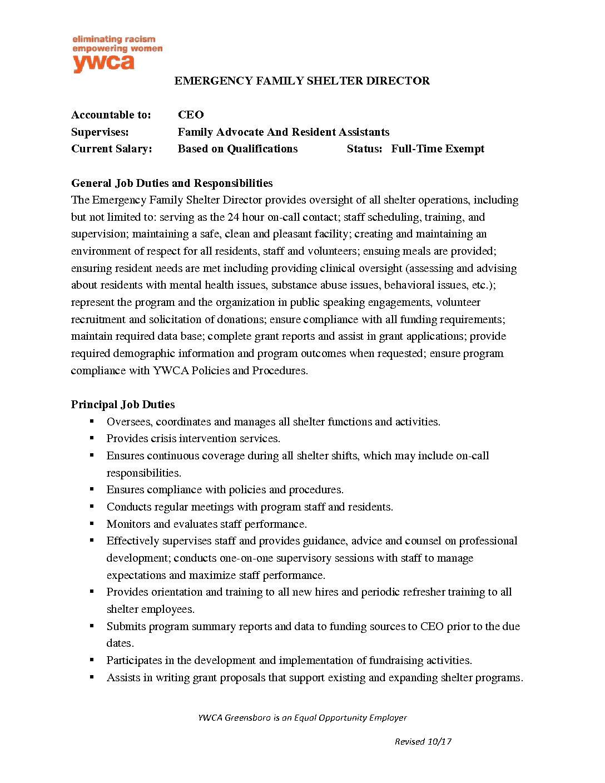 Emergency Room Registration Job Description